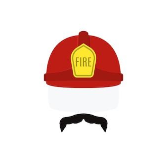 赤いヘルメットと口ひげの消防士の顔