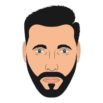 あごひげを生やした男の顔。漫画風の男性の頭。ベクトルイラスト。