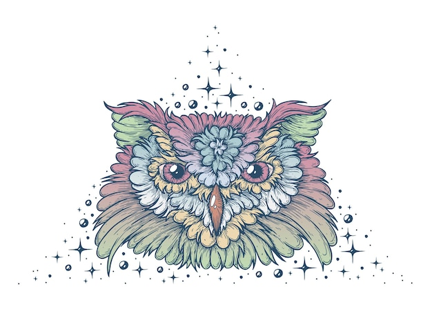 The face of an owl vector artistic illustration handmade made with pen and ink on paper