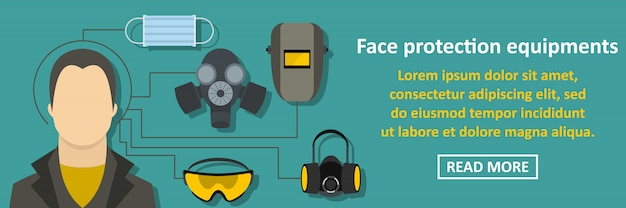 Face protection equipments banner horizontal concept