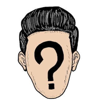 Face question mark drawing free hand with vector eps10.