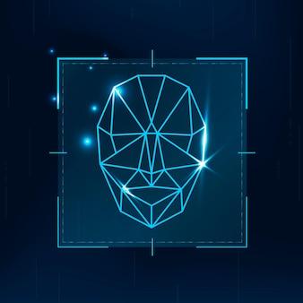 Tecnologia di sicurezza informatica con scansione biometrica di riconoscimento facciale in tonalità blu