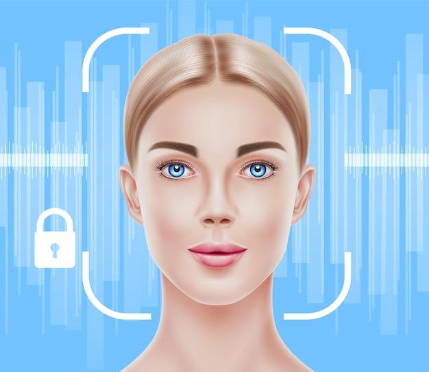 Концепция распознавания лиц биометрическое сканирование лица реалистичной красивой девушки