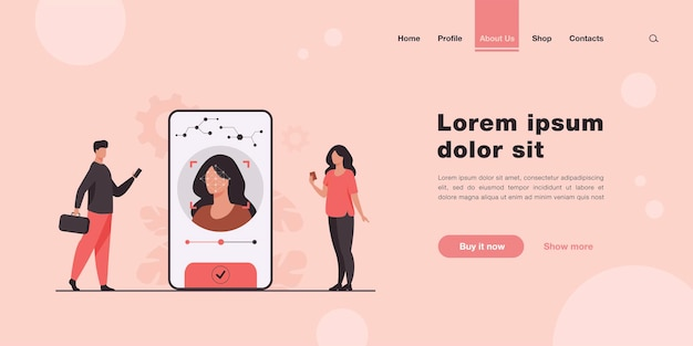 Face recognition and data safety landing page in flat style