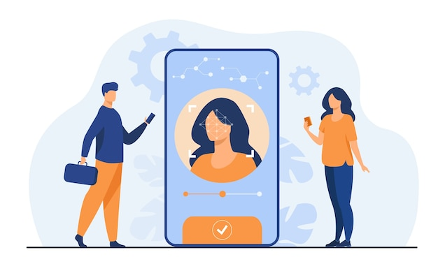 Riconoscimento facciale e sicurezza dei dati. utenti di telefoni cellulari che ottengono l'accesso ai dati dopo il controllo biometrico. per la verifica, accesso id personale, concetto di identificazione