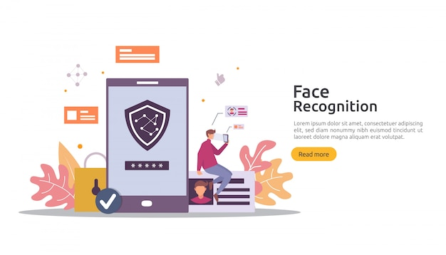 Face recognition data security design. facial biometric identification system scanning on smartphone. web landing page template, banner, presentation, promotion or print media.