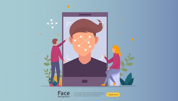 Face recognition data security design. facial biometric identification system scanning on smartphone.