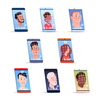 Face recognition icons set smart phone scanning users modern access control technology