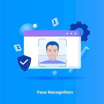 Концепция иллюстрации распознавания лиц.