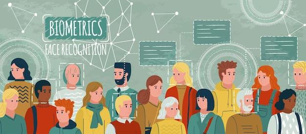 Распознавание лиц в дизайне иллюстрации толпы людей