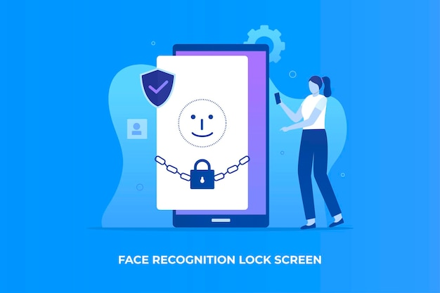 웹 사이트 방문 페이지에 대한 얼굴 인식 잠금 화면 그림 개념