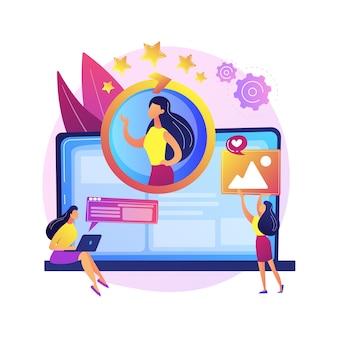 顔認識、個人識別、安全なアクセス。プロファイル入力、データストレージの開始。女性のアカウント所有者の漫画のキャラクター