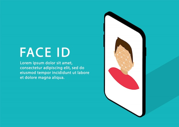 Face recognition in phone. face id. identification person. isometric. modern web pages.