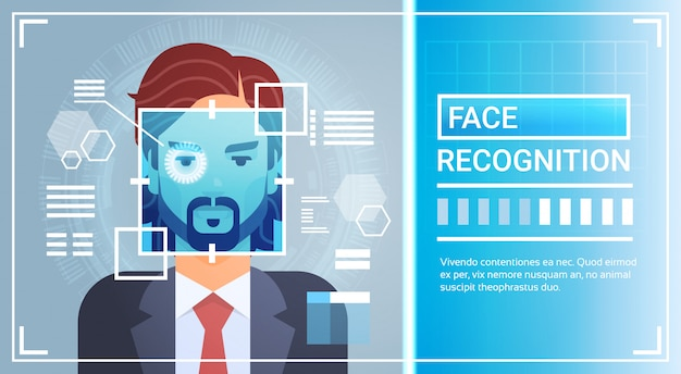 Face recognition system eye retina scanning of man
