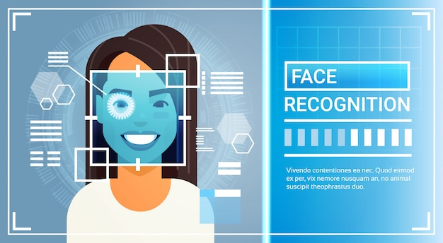 Face recognition system eye retina scanning of woman