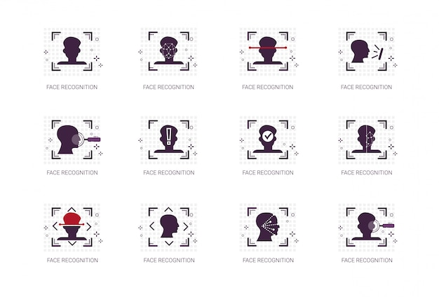 Face recognition system icons set biometric identification concept thin line