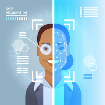 Face recognition system scanning eye retina of african american business woman modern identification