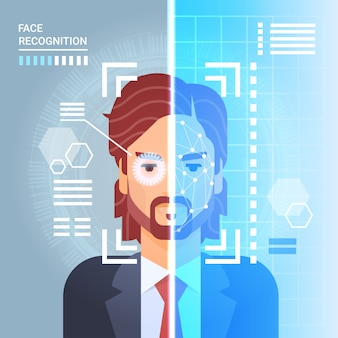 Face recognition system scanning eye retina of business man modern identification technology access
