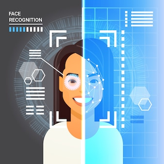 Face recognition system scanning eye retina