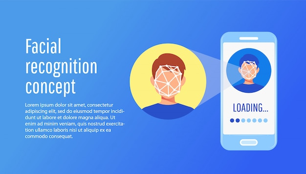 Face recognition technology concept