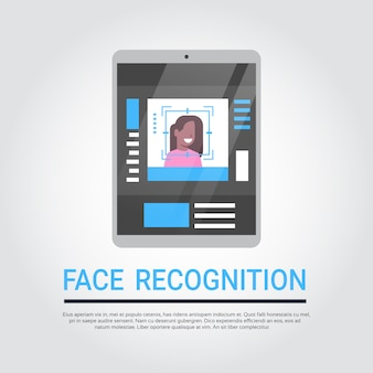 Face recognition technology digital tablet security system scanning african american female user bio