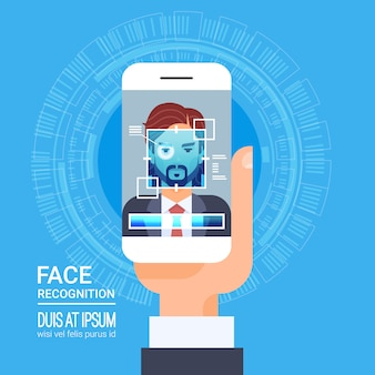 Face recognition technology smart phone scanning eye retina biometric identification system