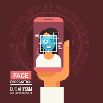 Face recognition technology smart phone scanning eye retina of woman biometric identification system