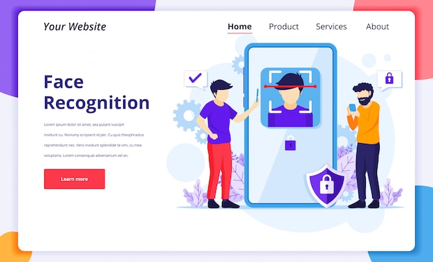 Face recognition technology system concept. biometric scanner identification. landing page design template