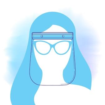 女性の頭のシルエットとフェイスシールドラインアイコン。パンデミック、エピデミックの個人的な保護と予防。フラットスタイルのベクトルイラスト。 covid19ウイルスのバクテリアに対する保護。