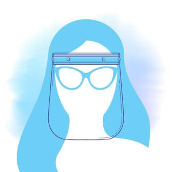 Face shield line icon with woman head silhouette. personal protection and prevention of pandemic, epidemic. vector illustration in flat style. protection against bacteria of covid 19 virus.