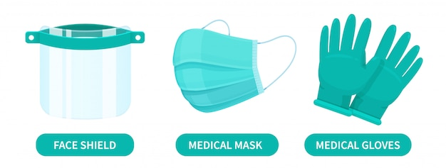 Face shields, medical masks and rubber gloves are corona virus protection devices for doctors.