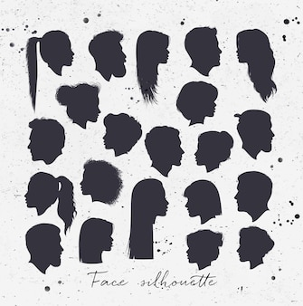 Face silhouettes white