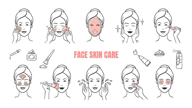 Face skin care icons illustration