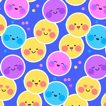 Face smile emoji and dots pattern