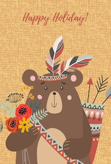 Face tribal bear with bouquet of flowers,feathers and arrows