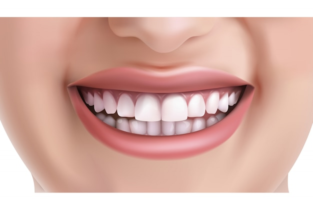 Face of woman smiling with white teeth