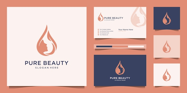 Face woman with water drop design logo and business card