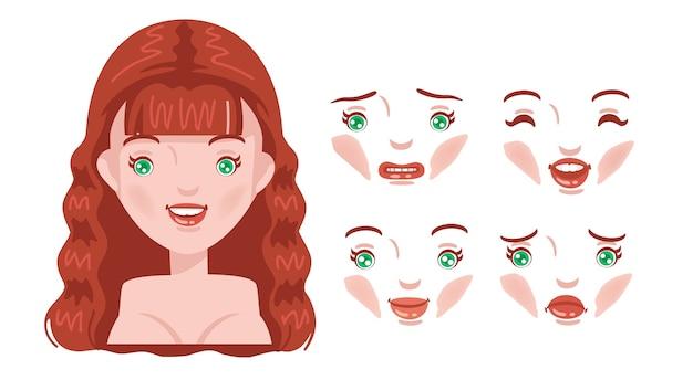 顔の女性セット。品揃えのモダンファッション。若い女性の頭、女性の髪型。赤毛。