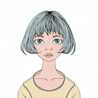 Face of young cute girl with big eyes and haircut caret.