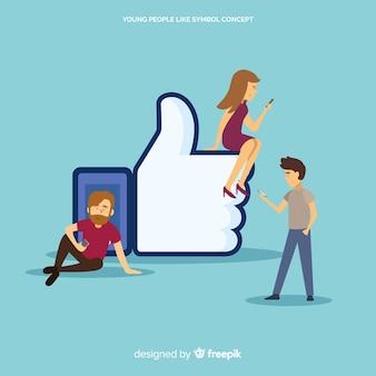 Facebookが好きです。ソーシャルメディア上の10代の若者。キャラクターデザイン