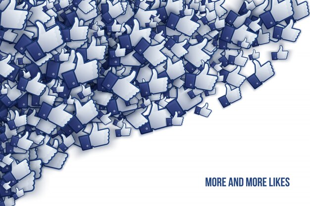 Facebook 3d like hand icons vector art illustration