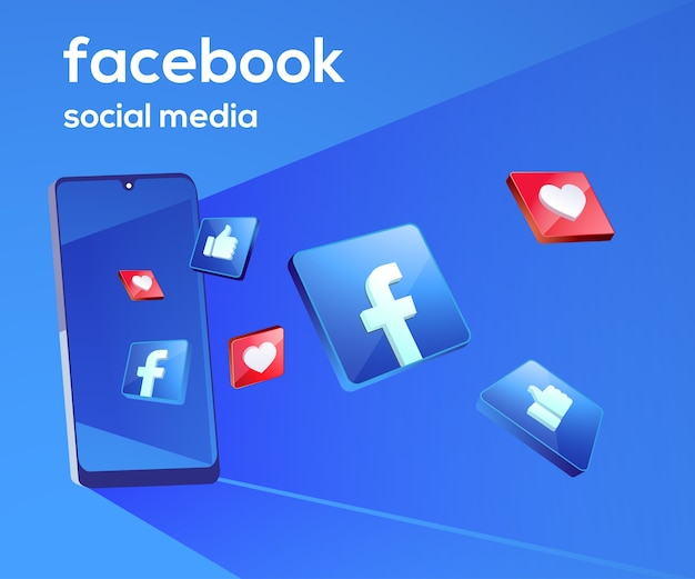 Facebook 3d social media icons with smartphone symbol