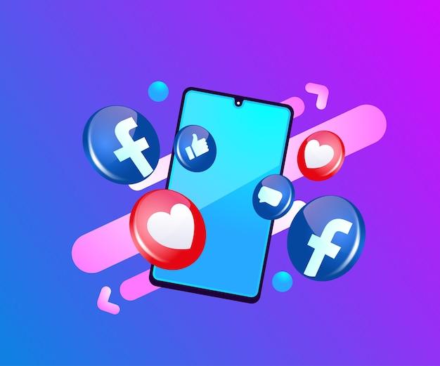 스마트 폰 기호 페이스 북 3d 소셜 미디어 아이콘