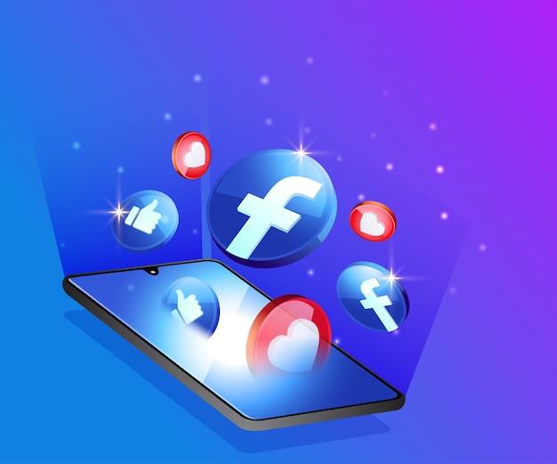Facebook 3d иконки социальных сетей с символом смартфона