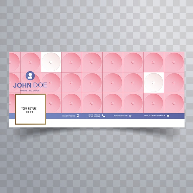 Facebook abstract 3d pink cover template