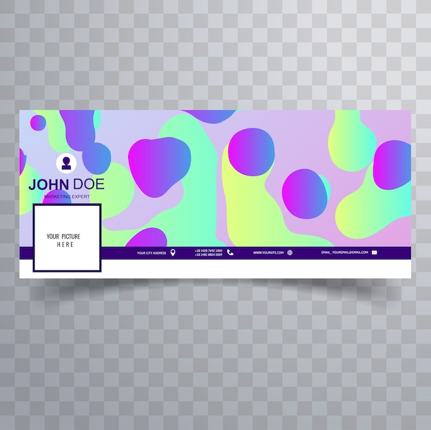 Facebook abstract neon fluid cover template