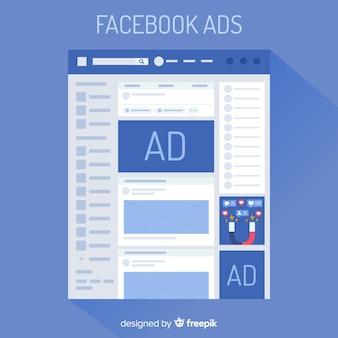 Facebook ads flat background