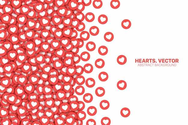 Facebookとinstagramの散乱ハート赤いフラットアイコンの境界線は白い背景で隔離