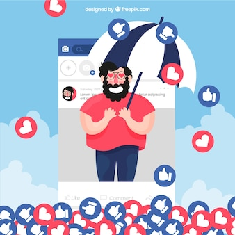 Facebook background with character, hearts and likes
