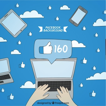 Facebook background with hand drawn laptop